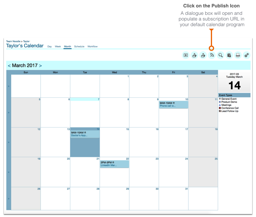 Connecting your Noodle calendar to third party calendars