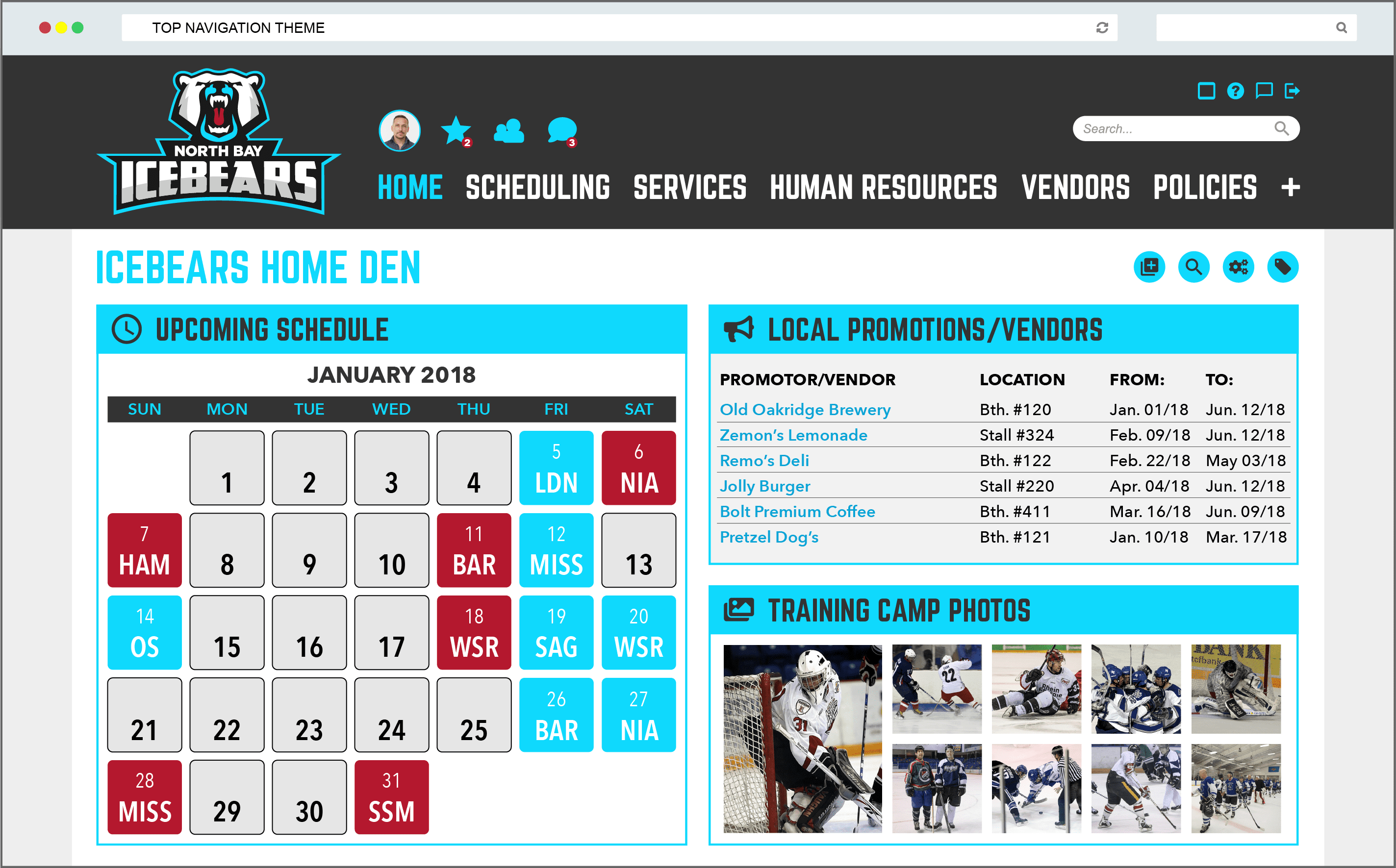 Sports Team Intranet Example