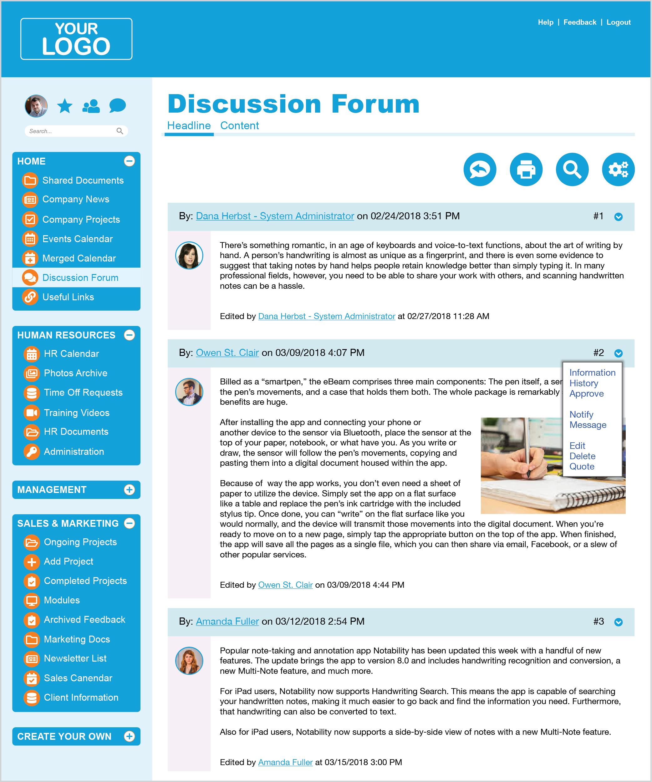 Intranet Discussion Forum