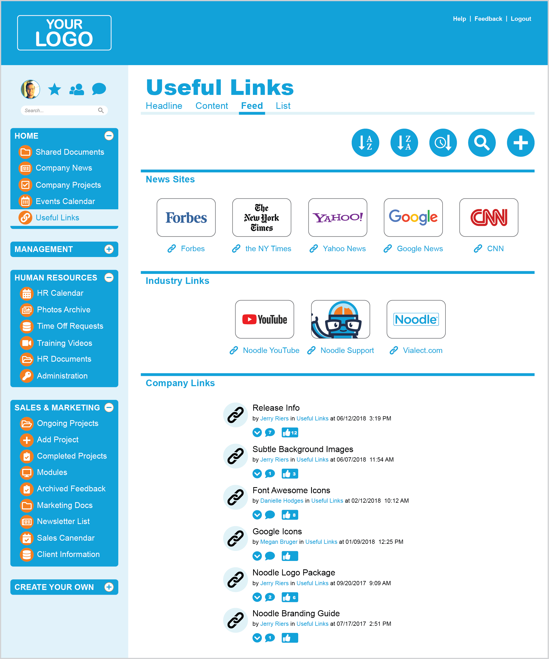 Shared intranet links